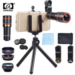 $enCountryForm.capitalKeyWord NZ - Universal 6 in 1 tripad 12X Zoom Telescope Fisheye Wide Angel Macro . For iPhone 6 7 Samsung S8 S7 android smartphone 12DG3 . . lens