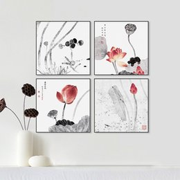 Lotus Painting Art NZ - Modern Abstract Traditional Chinese Ink Beautiful Lotus Canvas Art Print Poster Wall Picture Living Room Decor Painting No Frame
