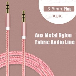 audio connection cables Canada - Nylon aluminum alloy metal AUX car audio line 3.5mm car speaker Public audio connection line AUX metal nylon fabric audio line