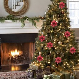10pcs christmas tree ornaments artificial flower 15cm christmas tree decorations for merry christmas home decoration - Artificial Christmas Trees For Sale