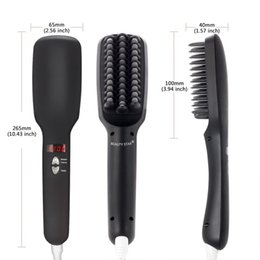 brush dries straightens hair 2018 - HS001 Drop ship 2 in1 Anion electric Fast Hair Straightener Comb Smooth Brush Hair Straightening brush Negative Ions Aut
