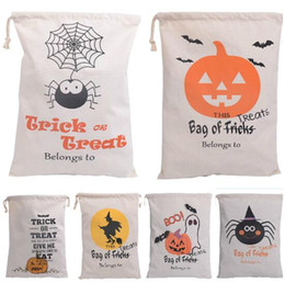 Cloth Pumpkins Canada - 2016 Fashion Halloween drawstring bags six style Pumpkin Party Candy storage bag Christmas gift bag Halloween decoration