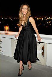 White Mid Length Evening Dresses Canada - Elegant V Neck Mid-calf Black Evening Dresses 2016 Jennifer Lopez Celebrity Formal Gowns Satin Ruffle A line Short Prom Party Dresses