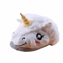 $enCountryForm.capitalKeyWord UK - HENGSONG Winter Warm Indoor Slippers Plush Unicorn Slippers for Grown Ups Cute Cartoon White Black Unisex Home Slippers 862415