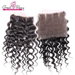Big Curly Hair Weave Canada - 100% Brazilian Three Part Top Lace Closure Water Wave Human Hair Extensions Big Curly Bleached Knot Closure Weave Natural Color