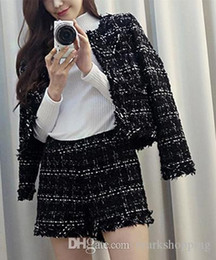 Black Button eyes online shopping - 2016 spring new women s plaid color block tweed woolen long sleeve coat and shorts skirt pieces twinset suit S XXL