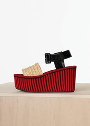 Wedge Leather Sandals Canada - 2016 wedge shoes Spring Wedge Sandal in Raphia with Wedge in Red and Black Striped Knit platform sandals summer holiday sandals