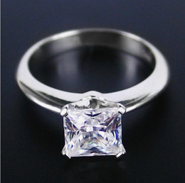 China 1CT Princess Cut Synthetic Diamond Ring 925 Sterling Silver Jewelry 18K White Gold Plated Wedding Rings For Women Bridal Gift cheap bridal jewelry set 925 silver suppliers