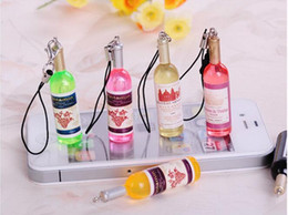 Cell Phone Jewelry Charms Canada - Mix Colors Beer Wine charm strap phone charm casual beverages bottle mobile cell phone Acrylic pendant jewelry Ornaments Free Shipping