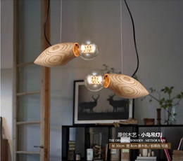 fluorescent light for restaurants Canada - Creative design wood led hanging light mango pendant lights fixture E27 chandeliers for restaurant bar dining room decoration