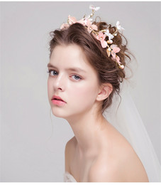 Hair Comb Flower Pink Canada - Vintage Wedding Bridal Pink Flower Crown Tiara Hair Accessories Jewelry Headpieces Princess Gold Pearl Beaded Hair Jewelry Hairband
