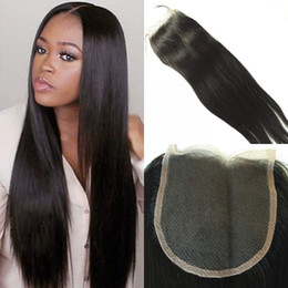 Middle Part Closure Piece Canada - 7A Brazilian Straight Hair Lace Top Closure 5x5 Virgin Brazilian Lace Closure Free Middle 3 Way Part Bleached Knots With Baby Hair Piece