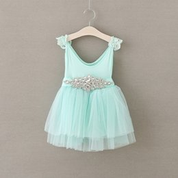 Barato Arco De Strass De Renda Branca-Marca Sweet Girl Lace White Dresses 2016 Summer Princess Bow Beaded Twinkle Rhinestone Belt Tulle Suspender Party Dress Pink branco Cian Mint