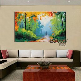 Discount popular landscape painting - 100% hand painted forest spring landscape oil painting on canvas modern popular wall art paintings for home decoration