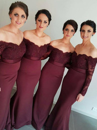 lace wine bridesmaid dresses Australia - 2016 New Arrival Off-the-Shoulder Wine Red Trumpet Mermaid Bridesmaid Dress Lace Applique Long Sleeves Sweep Train formal prom gowns