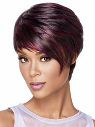 $enCountryForm.capitalKeyWord Canada - Xiu Zhi Mei Hot sell 1PCS Fashion Sexy Synthetic Straight Highlights Black Red Short African American Celebrity Wigs With Inclinded Bangs