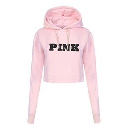 Sweat-shirts En Gros Femme Rose Pas Cher-Vente en gros- Mode PINK Impression Hoodies Sweatshirts Jumper Crop Top Coat Coat Neck Femme Vêtements Loose Short Pullovers