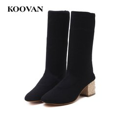 c010ceffbc4 Winter Fashion Boots Half Boots Knitting Sock Boots Chunky Heel 2017 Koovan  Women High Quality Free Ship W180