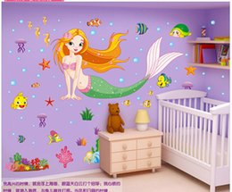 Mermaid Sticker Bathroom Waterproof Wall Stickers Children Bedroom Living Room Decoration Can Be Removed Warm Stickers Affixed To The Wall
