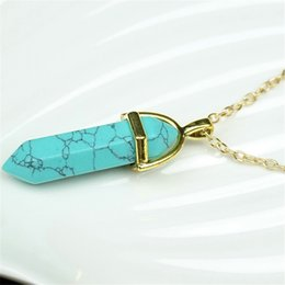 Turquoise pendant men canada best selling turquoise pendant men women men pendant necklaces turquoise natural stone crystal jewelry fashion bullet shape hexagonal prism mens pendants necklace wholesale aloadofball Image collections