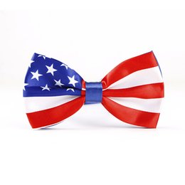 bow flags NZ - Free Shipping TIESET American Flag Bow Tie Flag of the United States Stars and Stripes For Men's Fashion
