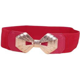 Discount elastic wide for belt - Wholesale- Hot Sale Bow Tie and Cummerbund Elastic Wide Waist Belt For Women Gold Bow Buckle Pure Color Ladies Wedding C