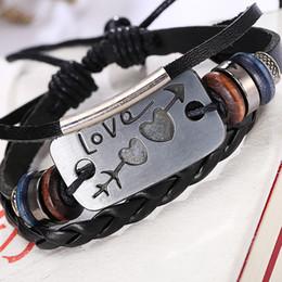 Identification Bracelets Canada - Fashion Love Design Leather Wrap Bracelet ID Identification Genuine Handmade Alloy Charms Bracelets Wristbands Mixed Style Free Shipping