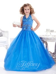 $enCountryForm.capitalKeyWord Canada - 2016 New Girl's Pageant Dresses Halter Neckline Dropped Waist A-line Royal Blue Organza Skirt Birthday Party Kids Flower Dresses