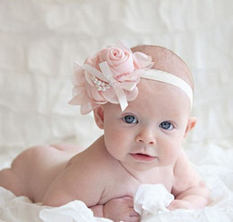 pearl bow headband Canada - 10PCS Stylish Baby Chiffon Pearl Beaded Headband Kids Rose Satin Bow Headdress Flower Infants Hairband Children Head Wear Photography Prop