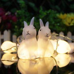Cute conejo cuerda luces lámparas cálida luz blanca cadena 10LED batería llevó luz Casa Decoraciones Jardín Decoración de Navidad