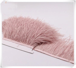 ostrich feather trim wedding dress UK - Wholesale 10yards lot Dust pink 5-6 inch in width ostrich feather trimming fringe for dress sewing crafts skrit supply