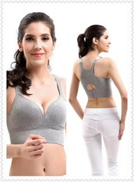 Tasses En Mousse Douce Pas Cher-Femmes sous-vêtements Sexy sans couture Sport Bra Raceback Top avec Moulé Coupe Rembourré Wirefree Push Up Doux Tasse Mousse Fitness Wider Strap Soutien