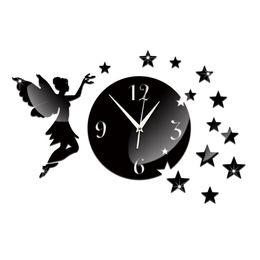 reloj pare 2018 - fashion 2016 Acrylic Quartz wall clocks reloj de pared new novelty big angel mirror art clock safe home decoration style