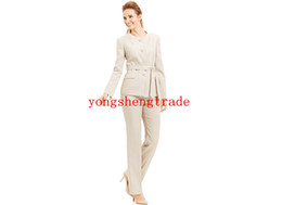$enCountryForm.capitalKeyWord NZ - Collarless Belted Pant Suit Custom Made Beige Women Suit HS7982