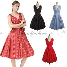 Robes Polka Filles Sexy Pas Cher-Casual femmes Polka Dot Party Sexy Backless Robe Vintage Pinup Girls style Robes d'été profond col V Bow Robe trapèze M82-B