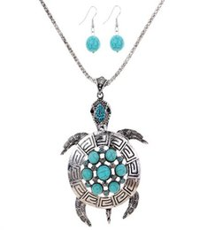 Blue copper turquoise earrings online shopping - 2016 NEW Silver Plated Tortoise Flower Round Turquoise Blue Crystal Pendant Earrings Necklace Set Color Green