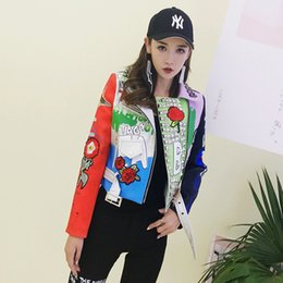 $enCountryForm.capitalKeyWord Canada - 2017 Autumn Fashion Rivet Leather Jacket Women Graffiti Pattern Motorcycle Jacket Slim Letter and Eagle Punk Jacket Coat