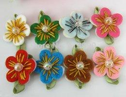 Handmade bead crafts online shopping - Mixed Handmade Felt Flower Bead Leaf Appliques Trim Wedding Dress Craft