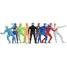 Barato Ternos Apertados-Atacado-Open cara Lycra Body Spandex Unisex Catsuit Skin Tight Halloween Party Zentai Suit Costume S-XXL