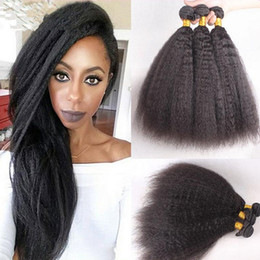 "$enCountryForm.capitalKeyWord Canada - 8A Cheap Mongolian Coarse Yaki Human Hair Weaves Italian Yaki 10-30"" Natural Black Kinky Straight Hair 300g Lot Free Shipping"