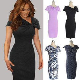 Sexy Leopard Clothing For Women Canada - Dot Leopard Purple Grey Short Sleeves V Neck Women Dresses Slim Fit Dresses For Lady Sexy Women Clothes Pencil Dress Casual Dresses