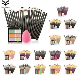 Puffs De Polvos Profesionales De Marca Baratos-Huamianli Brand Professional Make Up Brush Set Great 6 Color Concealer +20 Pincel de maquillaje +1 Water Puff Cosmetic Puff Beauty Kit de herramientas