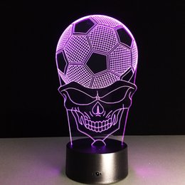 angels lamps UK - 2016 Football Skull 3D Optical Illusion Lamp Night Light DC 5V USB Charging 5th Battery Wholesale Dropshipping Free Shipping Retail Box
