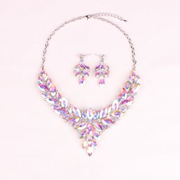 gold necklaces for prom UK - Fashion Crystal Jewellery Bridal Jewelry Sets Prom Party Costume Accessories Wedding Necklace Earrings For Bride Gift For Women
