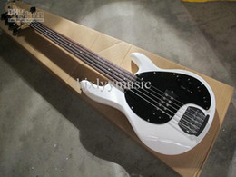 Chinese  Music Man 4 Strings Bass Ernie Ball StingRay White Electric Guitar Black Pickguard 9V Battery Active Pickups manufacturers