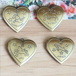 $enCountryForm.capitalKeyWord NZ - ZODIAC-Pattern Mix Style 12pcs ANTIQUE BRONZE 28mm Heart-Shaped Photo Locket Frame Charm&Pendant for DIY Necklace Jewelry Making
