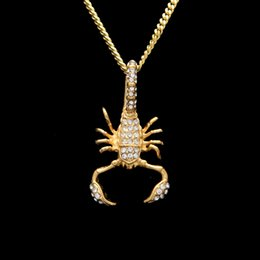 gold crystal scorpion NZ - High Quality Men's Punk Scorpion Necklaces&Pendants Male Stainless Steel Cuban Link Full Crystal Rhinestones Necklace Fashion Rapper Jewelry