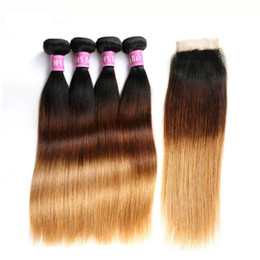 Discount ombre closure 1b 27 - 4Pcs Ombre Malaysian Hair Weaves With Closure Three Tone Color 1B 4 27 Silky Straight Human Hair Weft Bundles With Closu