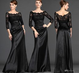 Robe De Soirée Vintage En Satin Pas Cher-Cheap Best Selling Formal Mother of The Bride Robes Dentelle Top 3/4 Long Sleeves Gaine Vintage Black Mother Evening Gowns Plus Size