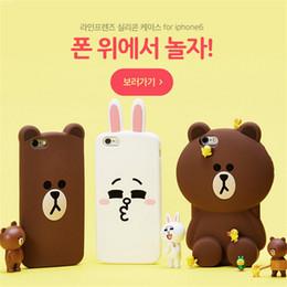 Korea Wholesale Cell Phones Canada - Korea LINE 3D Cartoon Design Silicone Cell Phone Case Soft 360 Protective Cell Phone Cases for Iphone5 Iphone6 Iphone6plus Iphone7 7plus